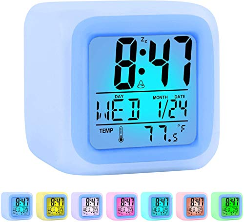 ZALIK Alarm Clock Kids Wake Up Easy Setting Digital Travel for Boys Girls, Large Display Time/Date/Alarm with Snooze, Bedside Clock Handheld Sized, LED Night Light Clock - Best Gift for Kids