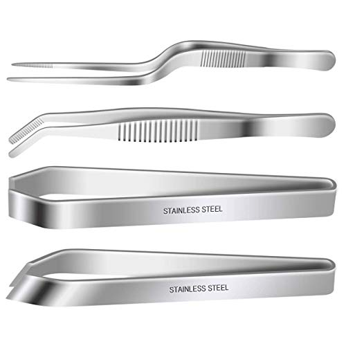 4 Pieces Fish Bone Tweezers Set, Two 4.6' Stainless Steel Tweezer and Two 5.5' Tongs for Cooking Food Design styling.