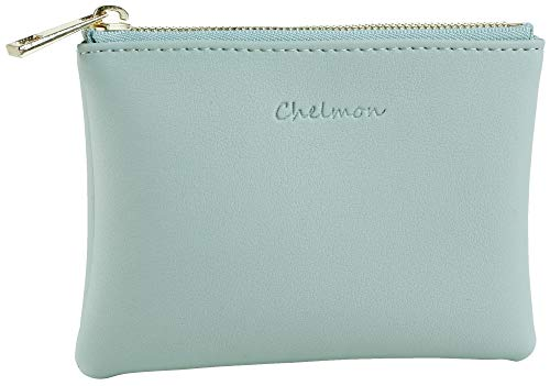 Chelmon Leather Coin Purse Pouch Change Purse With Zipper For Men Women (Green Light)
