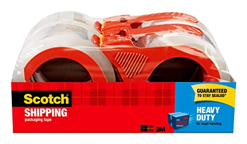 Scotch Heavy Duty Shipping Packaging Tape, 1.88' x 54.6 Yards, 3' Core, Clear, Great for Packing, Shipping & Moving, 4 Rolls, Dispensered (3850-4RD)