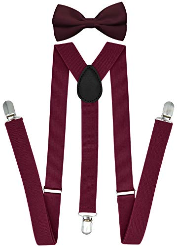 Trilece Suspenders for Men and Bow Tie Set - Adjustable Elastic Y Back Style Suspender with bowtie (Burgundy Set)