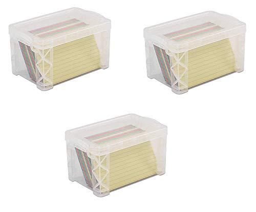Advantus 40307 Super Stacker 3' x 5' Index Card Box, Clear, 3 Boxes (40307)