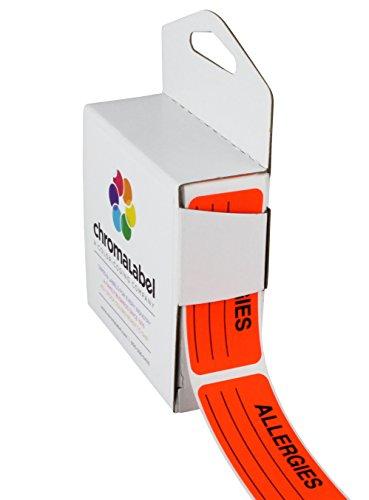 ChromaLabel 1 x 2-1/4 Inch Allergy Labels, 250/Dispenser Box, Fluorescent Red-Orange, Imprinted:'Allergies'