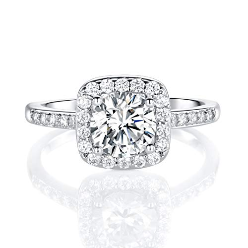 18K White Gold Plated Cubic Zirconia Promise Halo Engagement Promise Eternity Ring for Women (rhodium-plated-brass, 6)