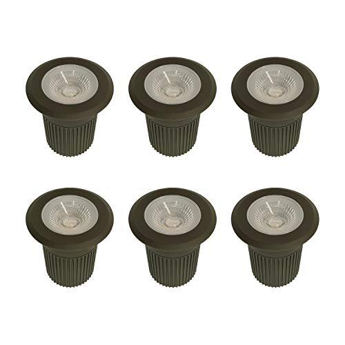 LUMENGY 9W LED In-Ground Landscape Lighting, 12V-24V Low-Voltage IP67 Waterproof, Underground Pavers Driveway Patio Deck Lights, Powerful 630 Lumens, Warm White 2700K, Brown Finish (6-Pack)