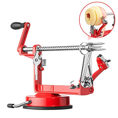 TAEERY Best Apple Spiral Peeler And Slicer,Table Top Apple Potato Peeler Corer Slicer Suction Base With Clamp,Stainless Steel Hand-Cranking Apple Peeler And Corer