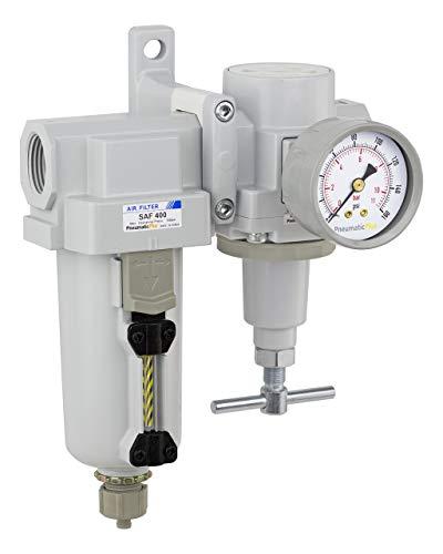 PneumaticPlus SAU420T-N06G-MEP Air Filter Regulator Combo 3/4' NPT -T-Handle, Manual Drain, Metal Bowl
