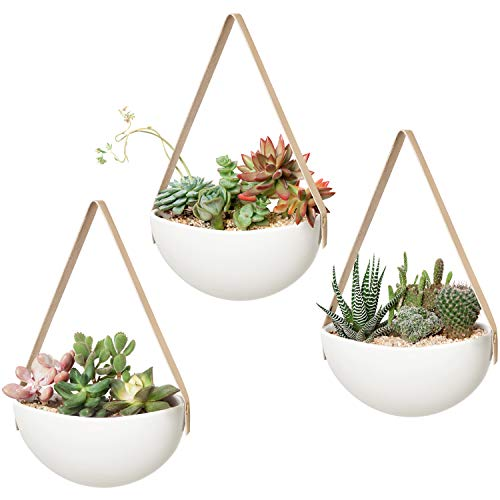 Mkono Ceramic Hanging Planter Wall Planters Set of 3 Modern Flower Plant Pots for Succulent Herb Air Plant Live or Faux Plants Home Office Decor Gift Idea, White