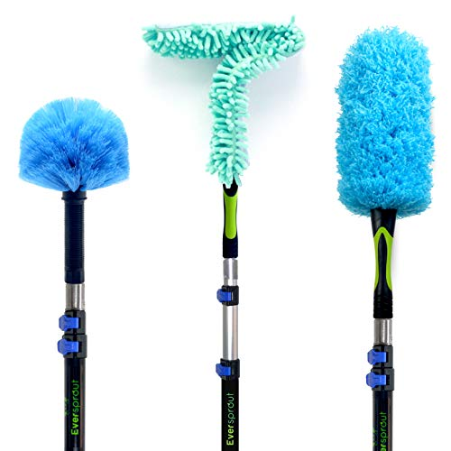 EVERSPROUT Duster 3-Pack with Extension-Pole (20+ Foot Reach)   Hand-Packaged Cobweb Duster, Microfiber Feather Duster, Flexible Microfiber Ceiling & Fan Duster   Aluminum Telescopic Pole