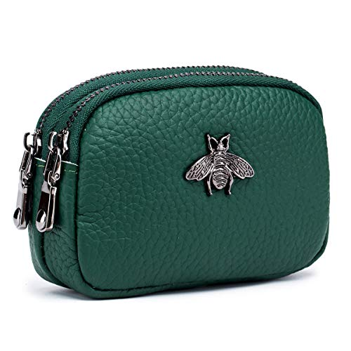 imeetu Coin Pouch Leather Change Purse, 2-Zippered Small Wallet(Green)
