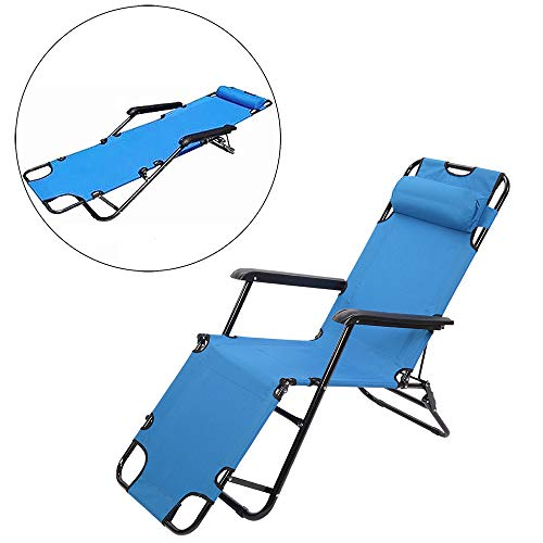 Folding Patio Lounge Recliners for Pool Side Outdoor Yard Beach (from US, Blue)