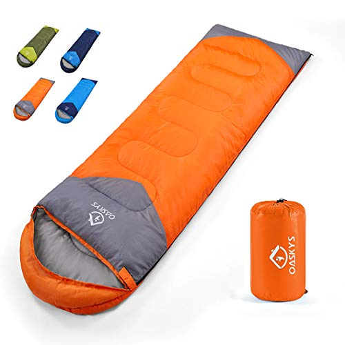 oaskys Camping Sleeping Bag - All Season Warm & Cold Weather - Summer, Spring, Fall, Winter, Lightweight, Waterproof for Adults & Kids - Camping Gear Equipment, Traveling, and Outdoors
