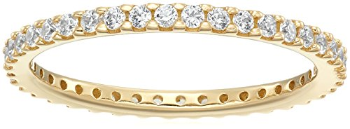 Yellow-Gold-Plated Sterling Silver All-Around Band Ring set with Round Swarovski Zirconia (1/2 cttw), Size 8