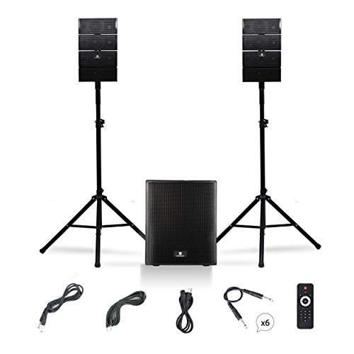 PRORECK Club AB 12-Inch DJ/Powered PA Speaker System Combo Set with Bluetooth/USB/SD Card/Remote Control (Active Subwoofer and 8X Array Speakers Set)
