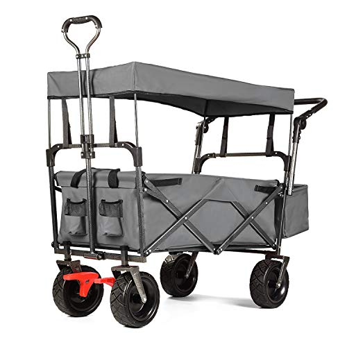 EXTEC Push and Pull Folding Stroller Wagon Collapsible with Canopy with Brakes with Safety Belts - Easy Setup NO Tool Needed (Grey)