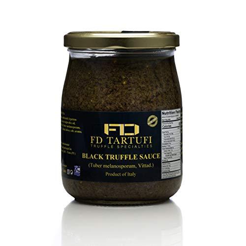 FD TARTUFI Black Truffle Sauce 500g ( 17.63oz), (Tuber Melanosporum) Gourmet Sauce | Kosher | non gmo | Made in Italy | Mushrooms | Truffles | Specialty Food