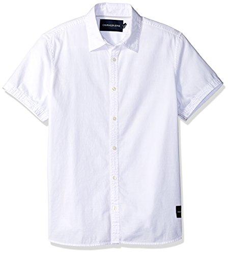 Calvin Klein Men's Short Sleeve Oxford Button Down Shirt, Standard White, X-Large