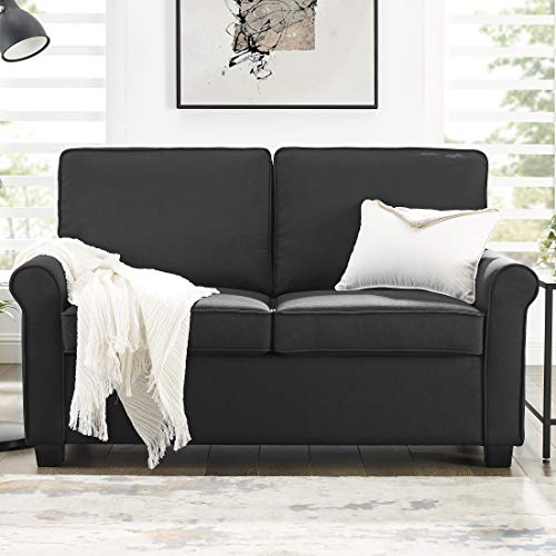 Mainstay Sofa Sleeper with Memory Foam Mattress | No-Tool Easy Assembly, Black