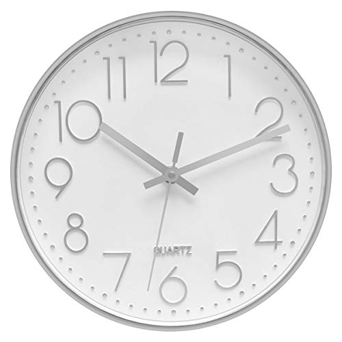 Foxtop Modern Wall Clock, 12 inch Silent Non-Ticking Battery Operated Decorative Silver Wall Clock for Office School Home Living Room (Arabic Numeral, Silver Plastic Frame, Glass Cover)