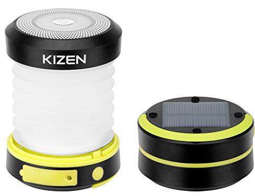 Kizen Solar Powered LED Camping Lantern - Solar or USB Chargeable, Collapsible Space Saving Design, Emergency Power Bank, Flashlight, Water Resistant. for Outdoor Night Hiking Camping Lawn!