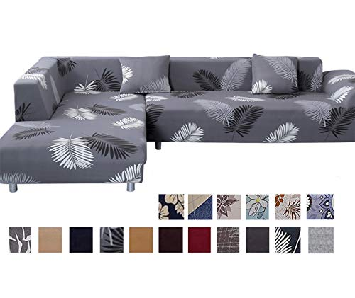 TOPCHANCES Premium Quality L Shape Couch Cover for Dogs, Kids, Pets, L-Shape 3+ 3 Seats Sectional Sofa Slipcovers with 2Pcs Pillow Case for L-Shape Couch (Sofa, Black Feather)