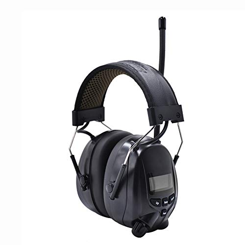Inf Protear Bluetooth Radio Headphones AM FM Noise Reduction Safety Earmuffs with Rechargeable 1200mAh Lithium Battery & Built-in Mic,NRR 25dB Ear Protection For Mowing,Black