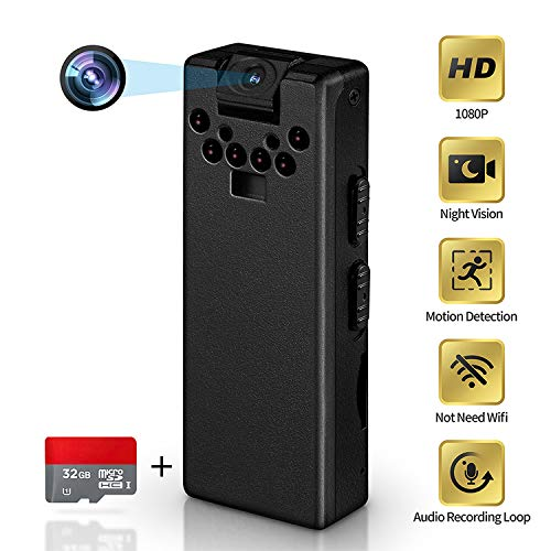 LZHZJOY Hidden Camera No WiFi Needed HD 1080p Mini Spy Camera Dictaphone Video - Camera Portable Small Home Nanny Camera for Home Security-Office-Lectures-Meetings(Contain 32GB Card)