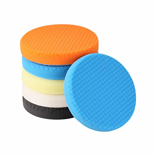 SPTA 5Pcs 7' Face for 6.7'' Backing Plate 7'/180mm Compound Buffing Sponge Pads Polishing Pads Kit Buffing Pad For Car Buffer Polisher Sanding,Polishing, Waxing