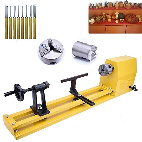 Wood Lathe Benchtop 11-Inch by 22-Inch Variable Speed Woodturning Tool Centering Drilling for table Woodworking DIY Tool Lathe Standard Set (11-Inch by 22-Inch)
