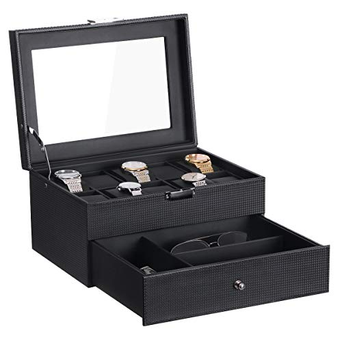 BEWISHOME Watch Box Organizer with Valet Drawer - Real Glass Top, Metal Hinge, Large Holder, Black Carbon Fiber Faux Leather - 10 Slots Watch Storage Case Jewelry Box for Men SSH14C