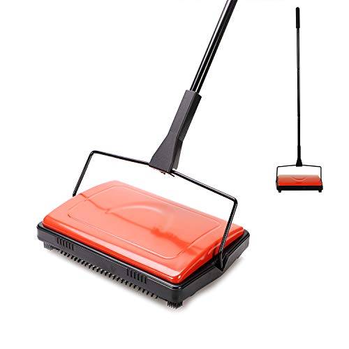 Yocada Carpet Sweeper Cleaner for Home Office Low Carpets Rugs Undercoat Carpets Pet Hair Dust Scraps Paper Small Rubbish Cleaning with a Brush Red