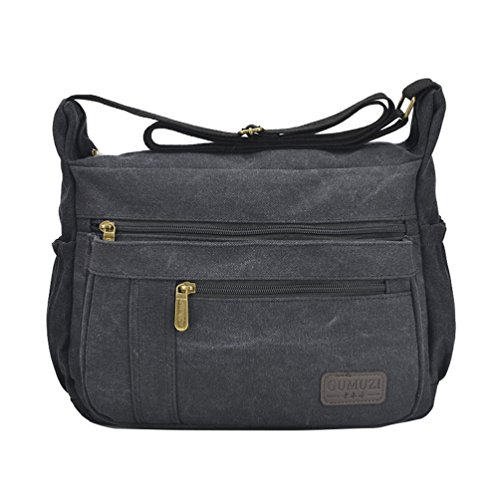 Fabuxry Light Weight Canvas Shoulder Bag for Women Messenger Handbags Cross Body Multi Zipper Pockets Bag (Black)