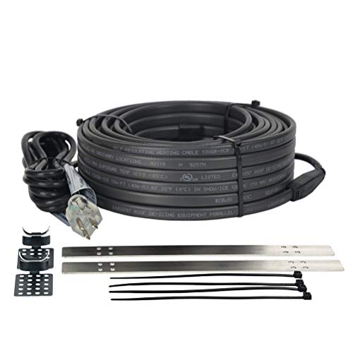 XAREX XGR 120V 100ft, Roof De-Icing Cable with Roof Clips and Downspout Hangers, Self Regulating Pre-Assembled Heat Tape with 120V 12ft Cord & Lighted Plug for Ice Dam Prevention Electric Heat Trace