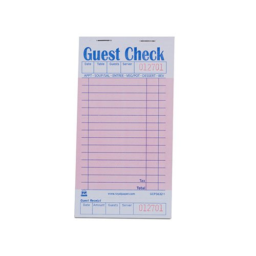 Royal Pink Guest Check Board, 1 Part Booked with 15 Lines, Package of 10 Books