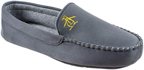 Original Penguin Mens Slippers, Microsuede Venetian Moccasin Slipper,Grey,Men's Size 10