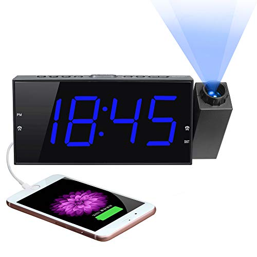 """Projection Digital Alarm Clock for Bedroom, Projector Clock,Large 7"""" LED Display&Dimmer, USB Charger, Adjustbale Ringer,12/24H,Plug in Wall Ceiling Clock,Loud Dual Alarms for Heavy Sleeper Kid Elderly"""