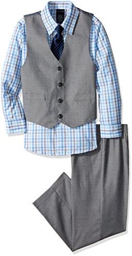 Nautica boys 4-piece Vest Set With Dress Shirt, Bow Tie, Vest, and Pants Suit, Light Gray, 5 US