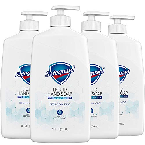 Safeguard Liquid Hand Soap, Washes Away Bacteria, Micellar Deep Cleansing, Fresh Clean Scent, 25 Oz (Pack of 4)