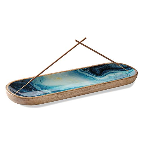 Folkulture Incense Holder or Insence Burner Holder, Modern Incense Ash Catcher or Insense Stick Holder for Home Dcor, Wooden Incense Tray for Sticks, Mango Wood Trough, Blue