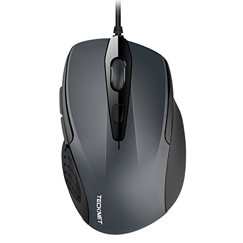 TECKNET 6-Button USB Wired Mouse with Side Buttons, Optical Computer Mouse with 1000/2000DPI, Ergonomic Design, 5ft Cord, Support Laptop Chromebook PC Desktop Mac Notebook-Grey
