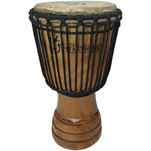 Classic Heartwood Djembe Drum - 9'x 18', Hand-carved, Solid-wood, Goat-skin, from Ghana