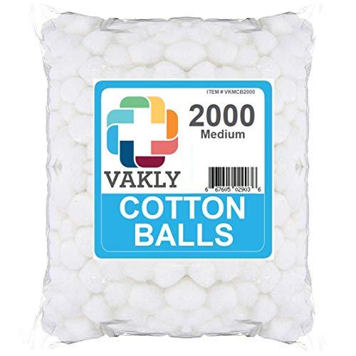 Vakly Non-Sterile Medium Cotton Balls - 2000 Bag