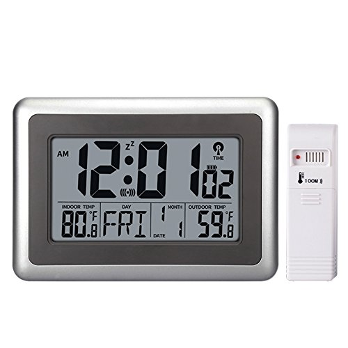 UMEXUS Atomic Wall Desk Clock Large Display with Indoor Outdoor Temperature Date Calendar Digital Alarm Clock Battery Operated for Kitchen Bedroom