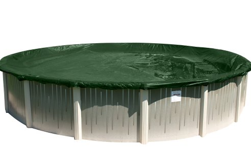 Buffalo Blizzard Split Blocker Winter Cover for 24-Foot Round Above-Ground Swimming Pools | Green/Black Reversible | 4-Foot Additional Material | Rip-Proof Technology