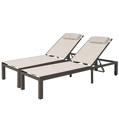 Crestlive Products Adjustable Quilted Chaise Lounge Chair Five-Position Outdoor Recliner with Headrest and Wheels All Weather for Patio, Beach, Yard, Pool (2 PCS Beige)