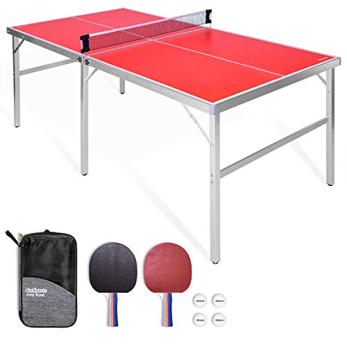 GoSports 6x3 Mid-size Table Tennis Game Set | Indoor / Outdoor Portable Table Tennis Game with Net, 2 Table Tennis Paddles and 4 Balls