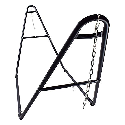 VALLEYRAY Portable Steel Hammock Stand with Carry Bag, 2 Person Heavy-Duty Universal Hammock Stand Only, Hammock Frame Fit for 9-14 Feet Hammocks, for Indoor Outdoor Yard Patio Deck (Black)