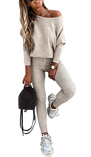 PRETTYGARDEN Women's Casual Two Piece Outfit Long Sleeve Off Shoulder Tops with Leggings Active Tracksuit Solid Lounge Wear (Apricot, Small)