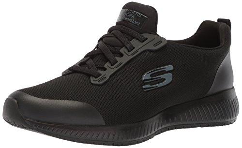 Skechers for Work Women's Squad SR Food Service Shoe, black flat knit, 8 M US