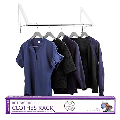 Stock Your Home Retractable Clothes Rack - Wall Mounted Folding Clothes Hanger Drying Rack for Laundry Room Closet Storage Organization, Aluminum, Easy Installation, 2 Racks with Rod (White)